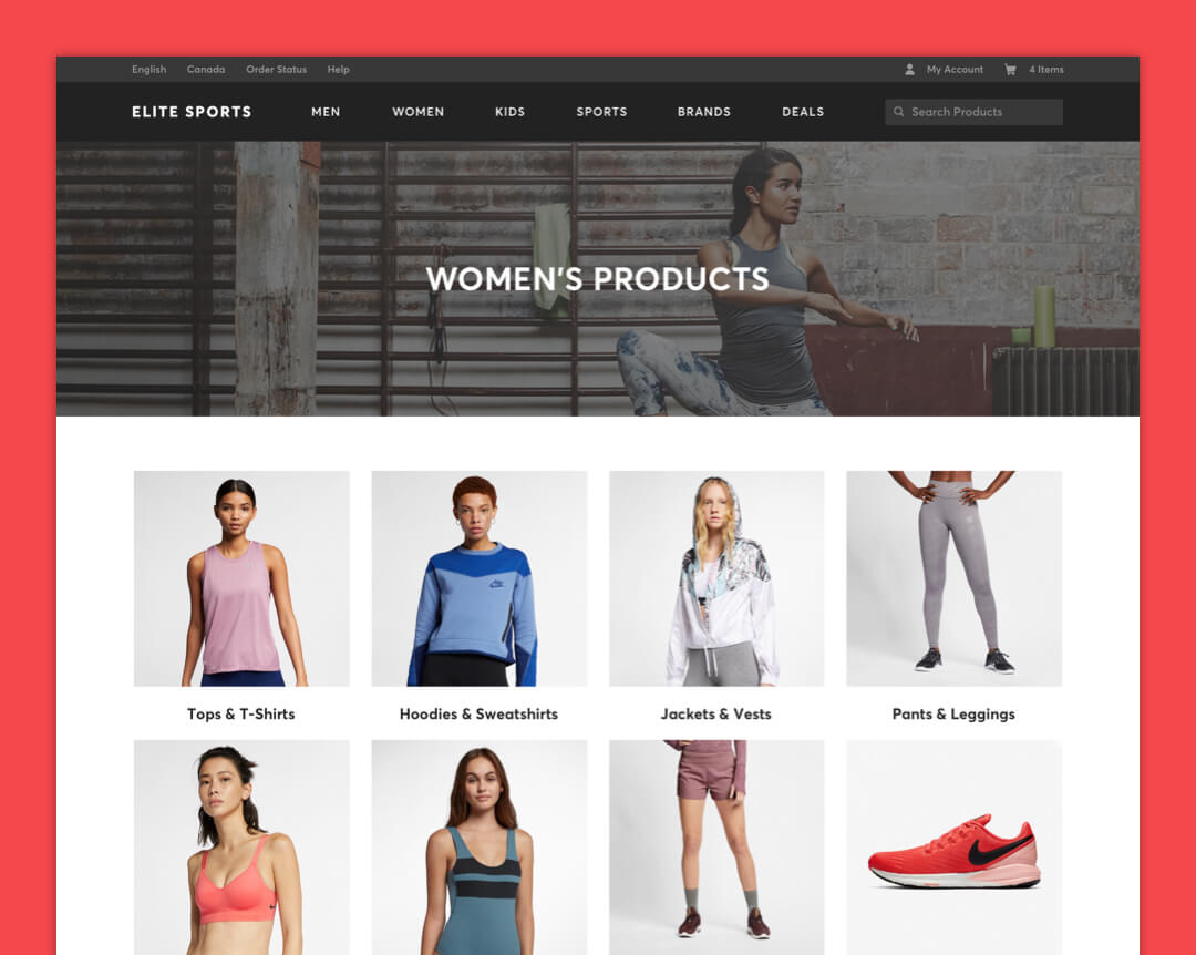 Elite Sports Apparel - Products Page