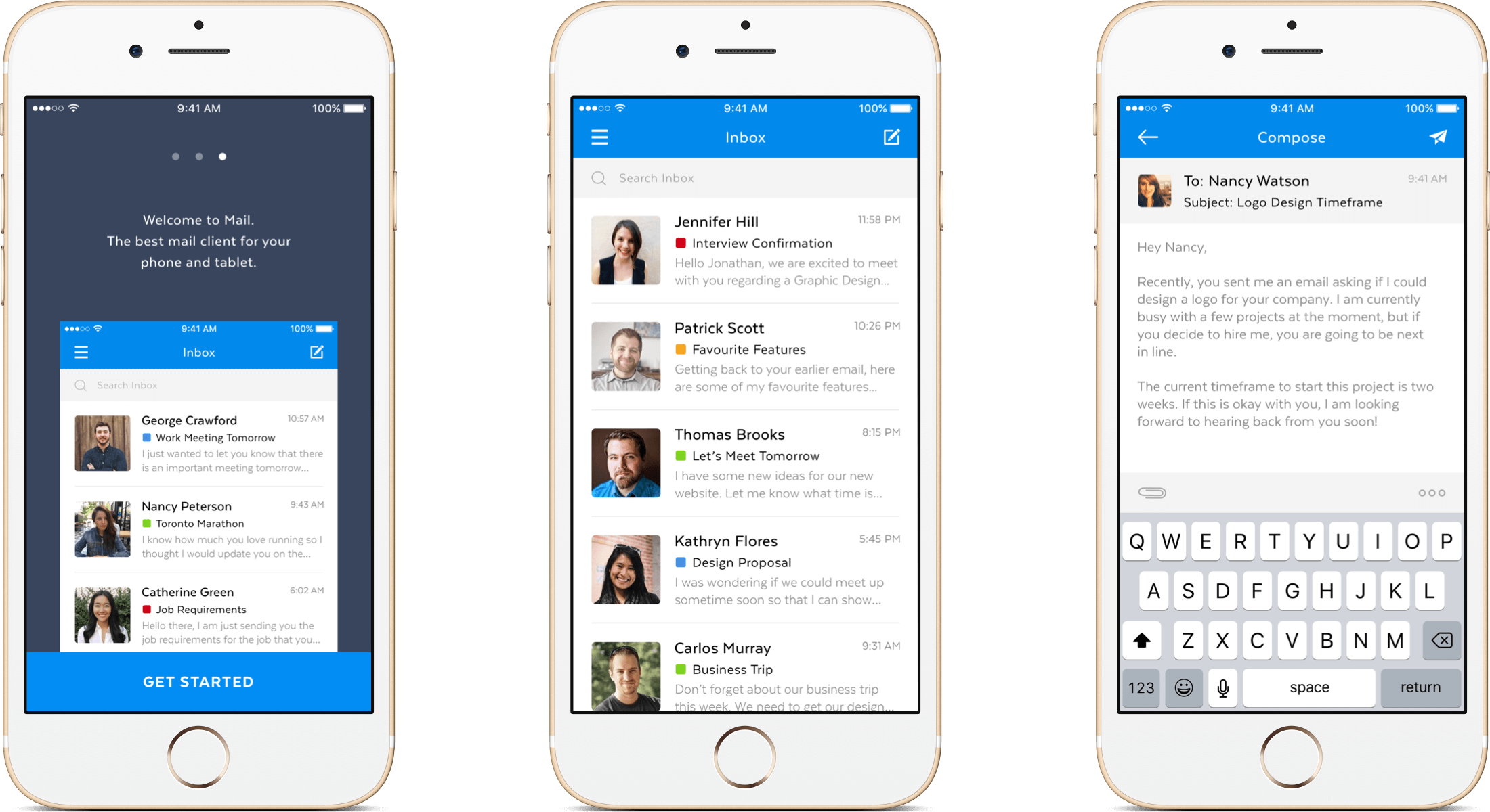 Mobile Mail App header