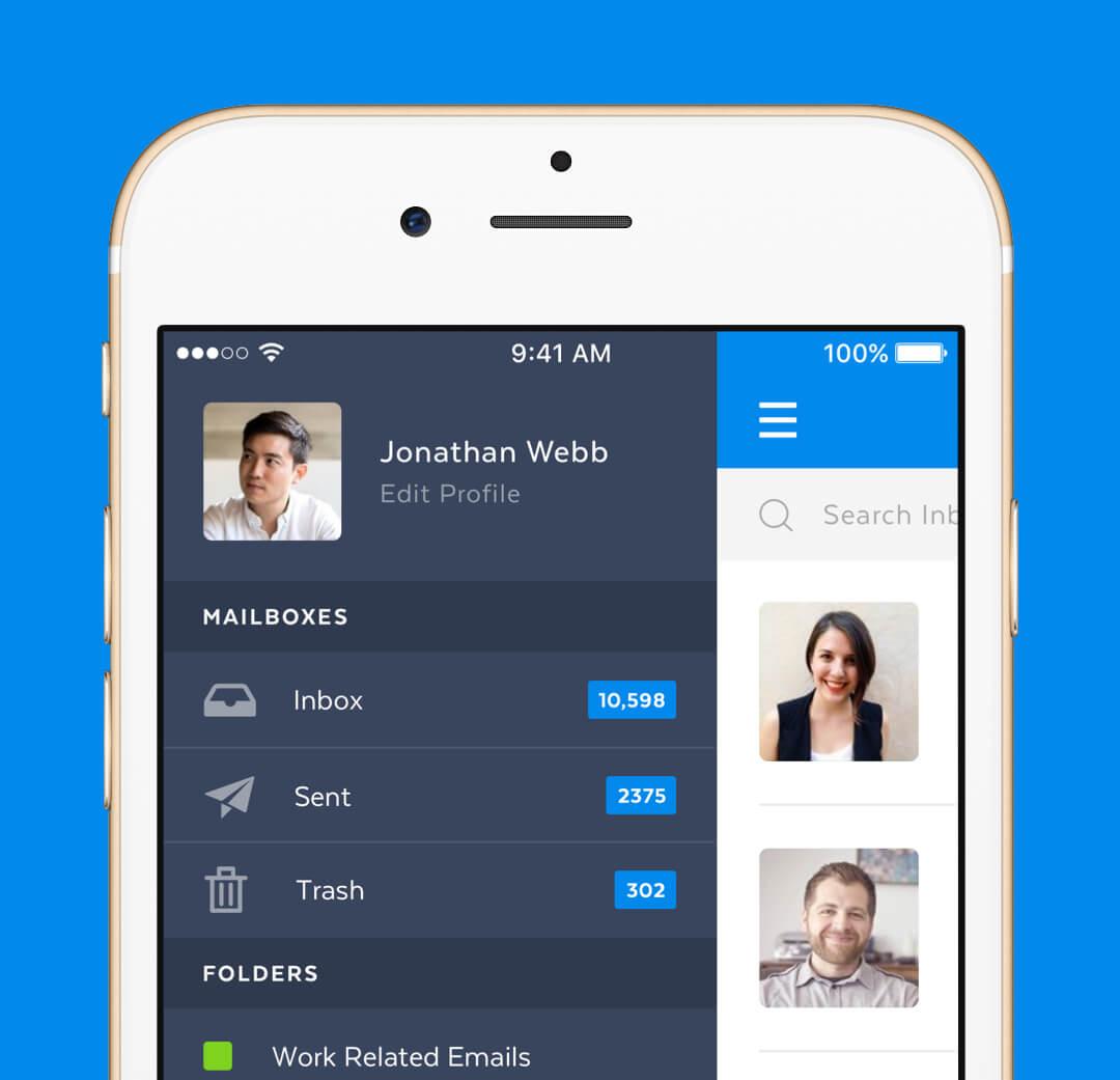 Mobile Mail App - Inbox Menu