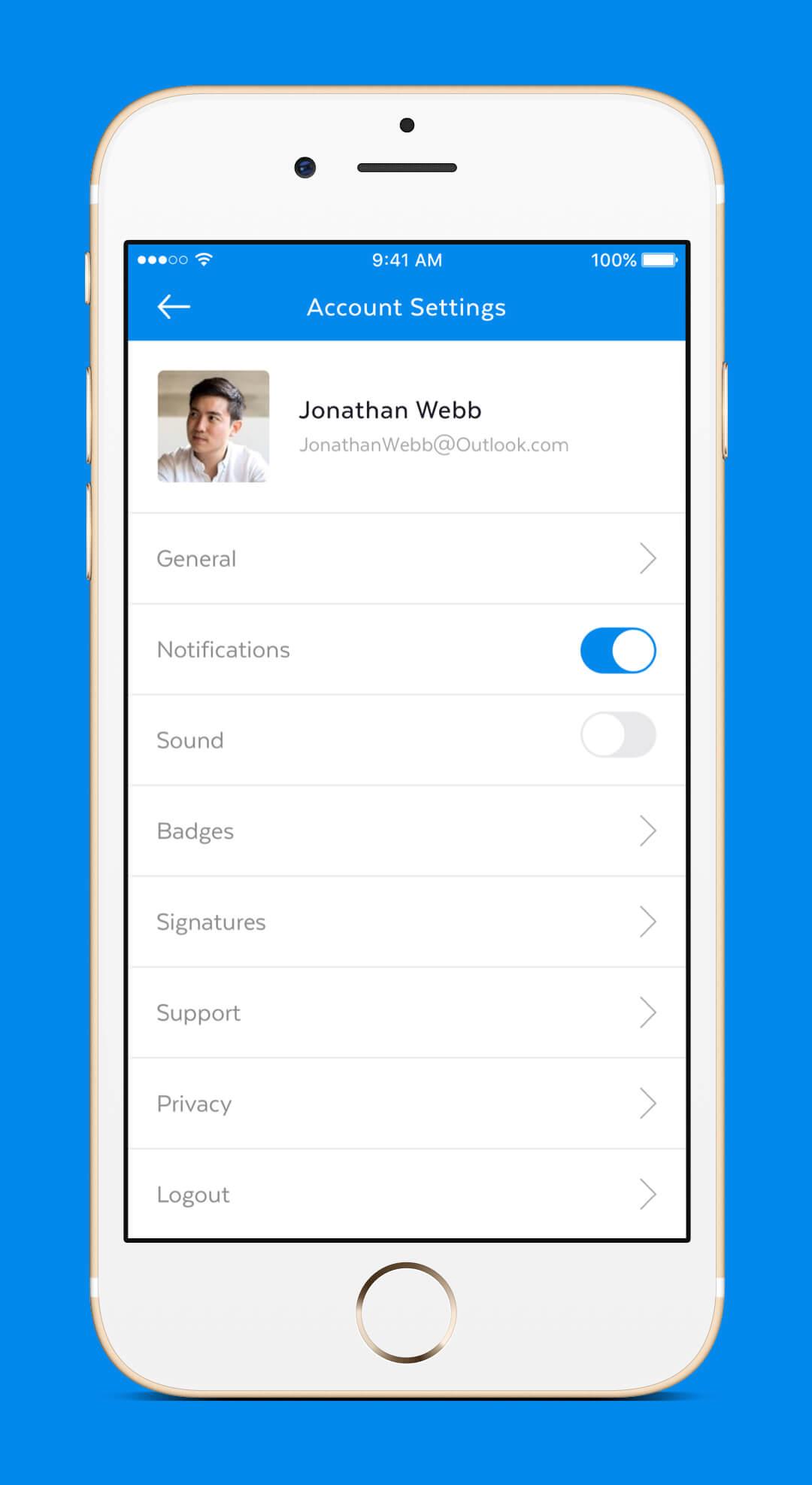 Mobile Mail App - Settings Screen