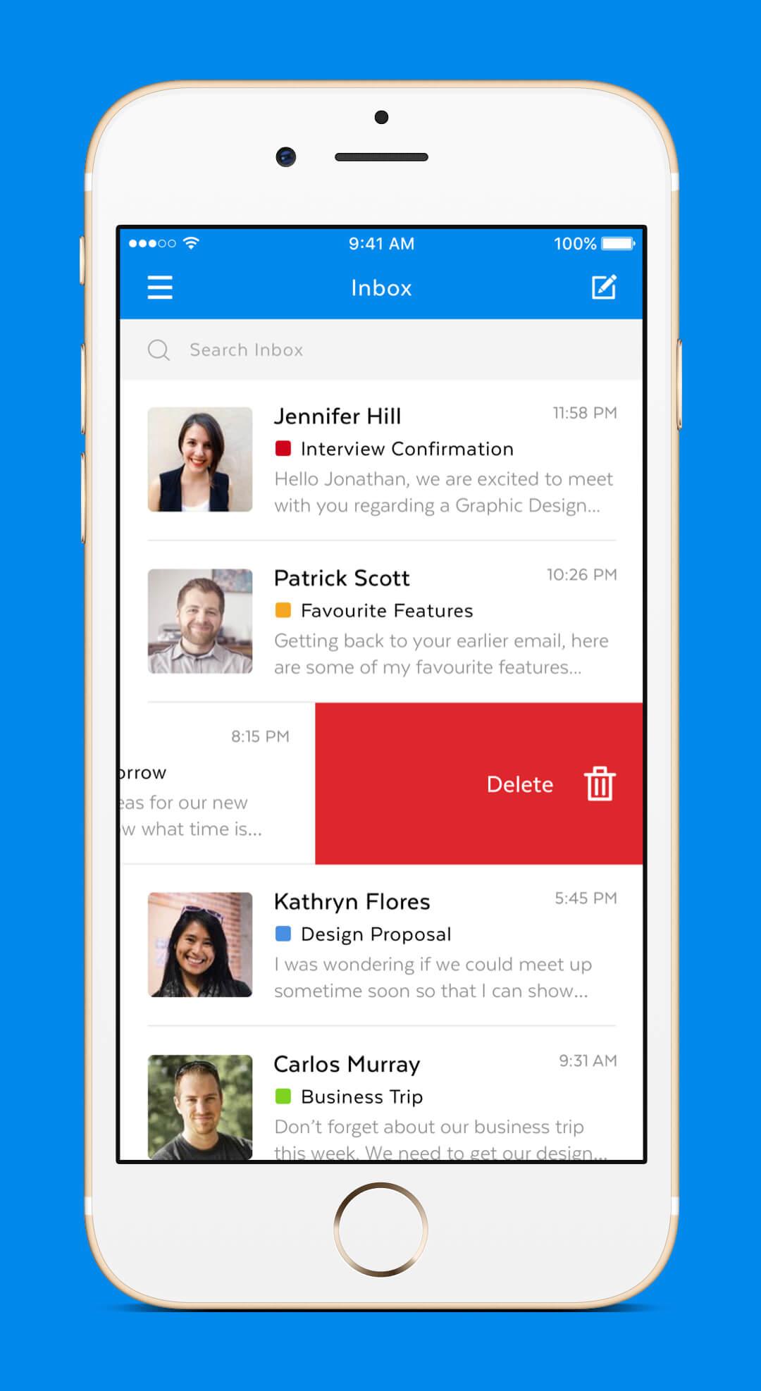 Mobile Mail App - Inbox Delete
