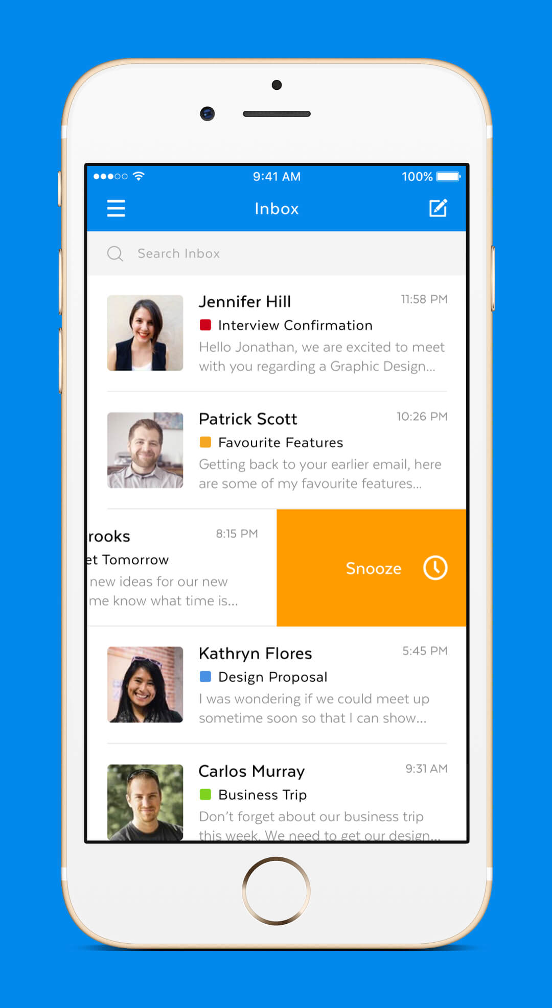 Mobile Mail App - Inbox Snooze