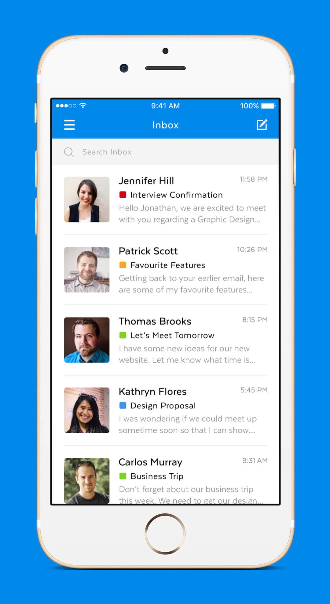 Mobile Mail App - Inbox Screen