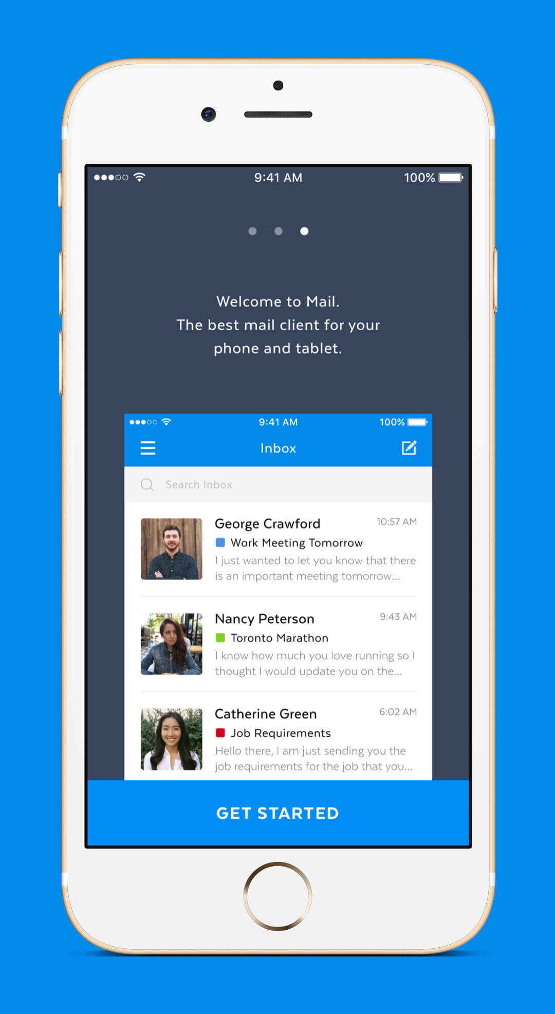 Mobile Mail App - Walkthrough Screen
