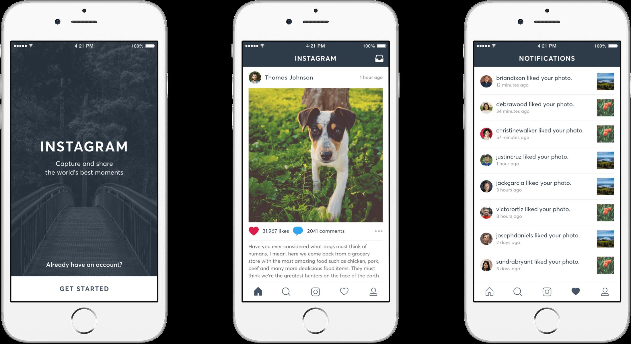 Instagram Redesign header