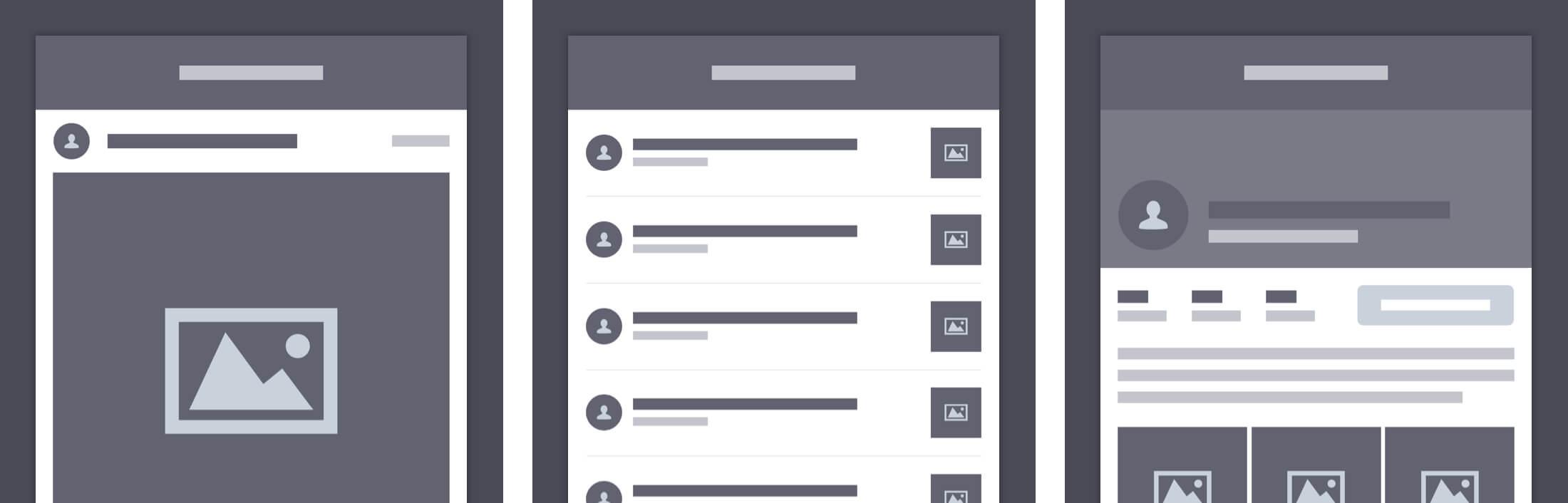 Instagram Redesign wireframes