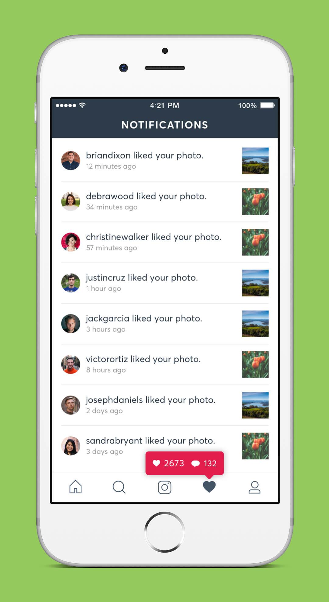 Instagram Redesign - Notifications Screen