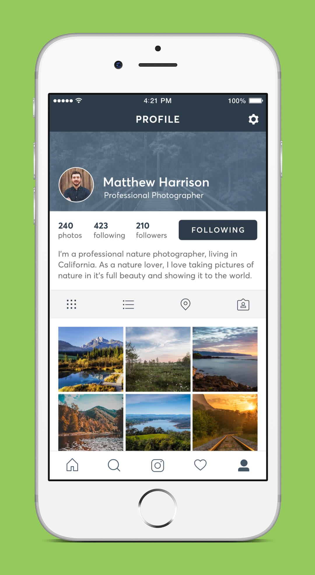 Instagram Redesign - Profile Screen