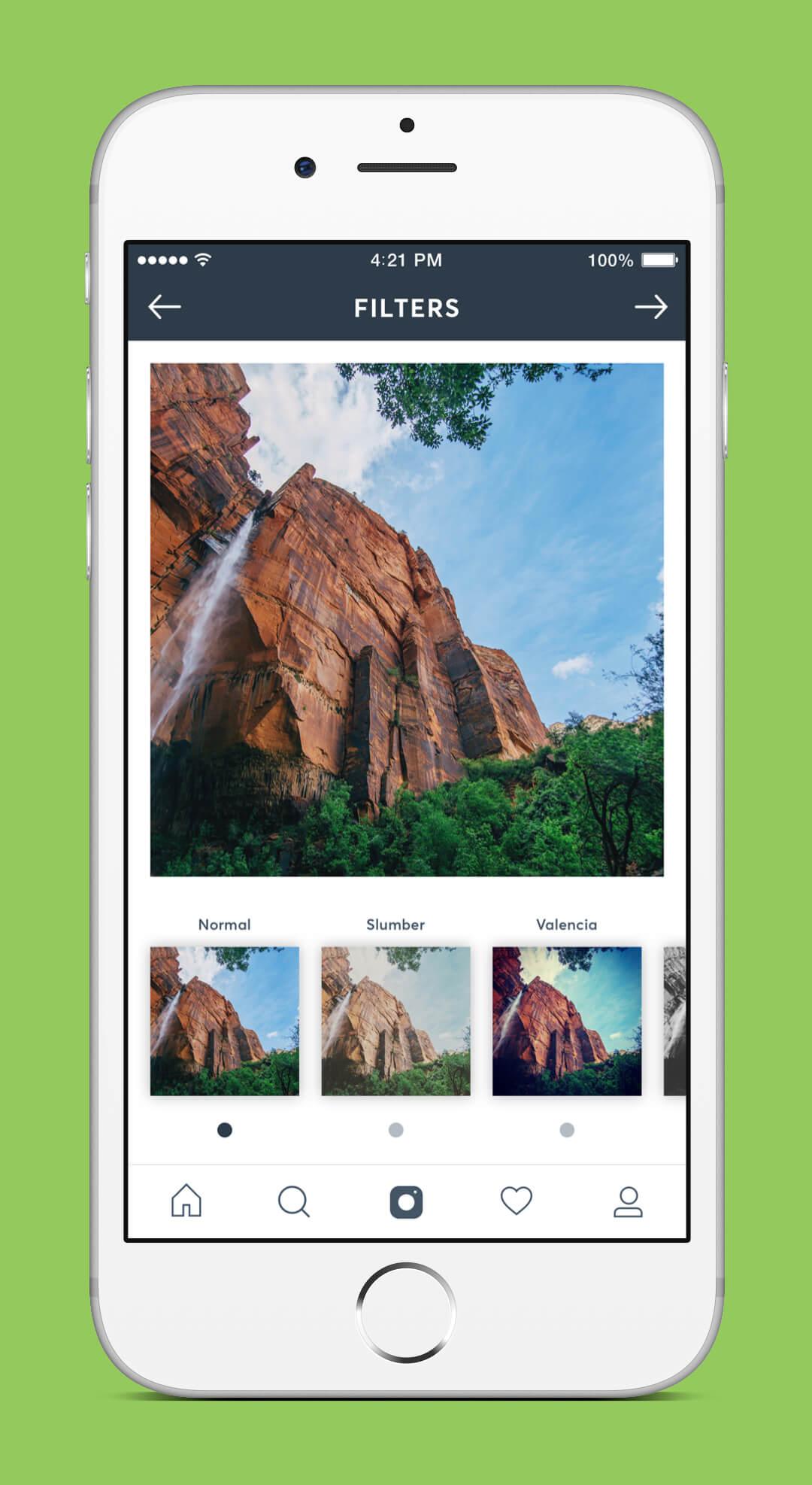 Instagram Redesign - Filter Screen