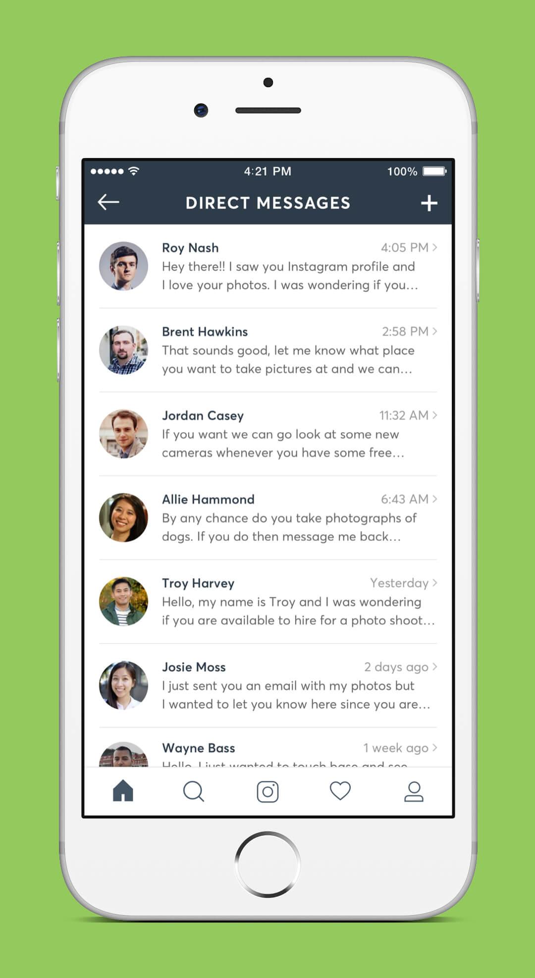 Instagram Redesign - Direct Messages Screen