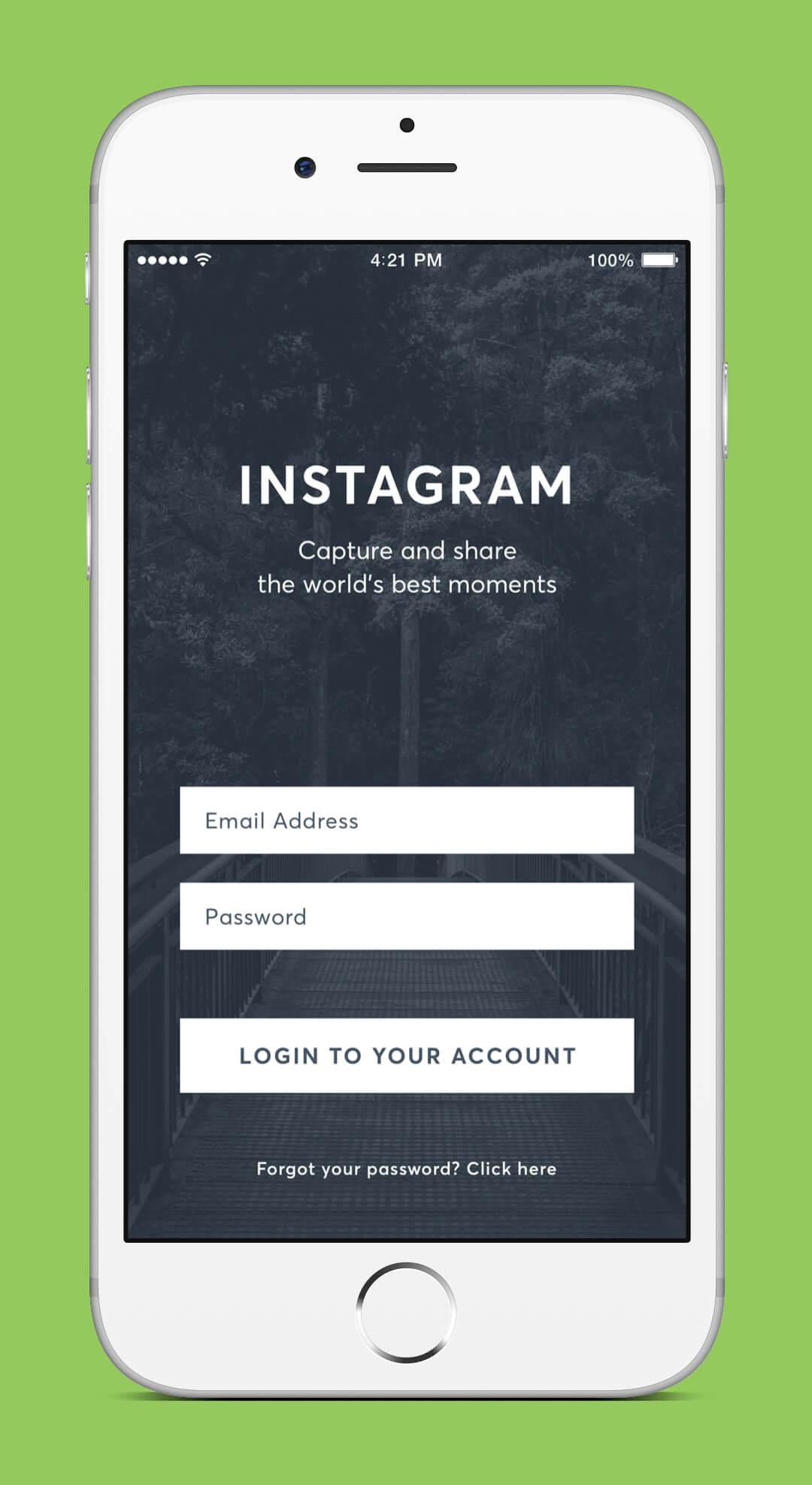 Instagram Redesign - Login Screen