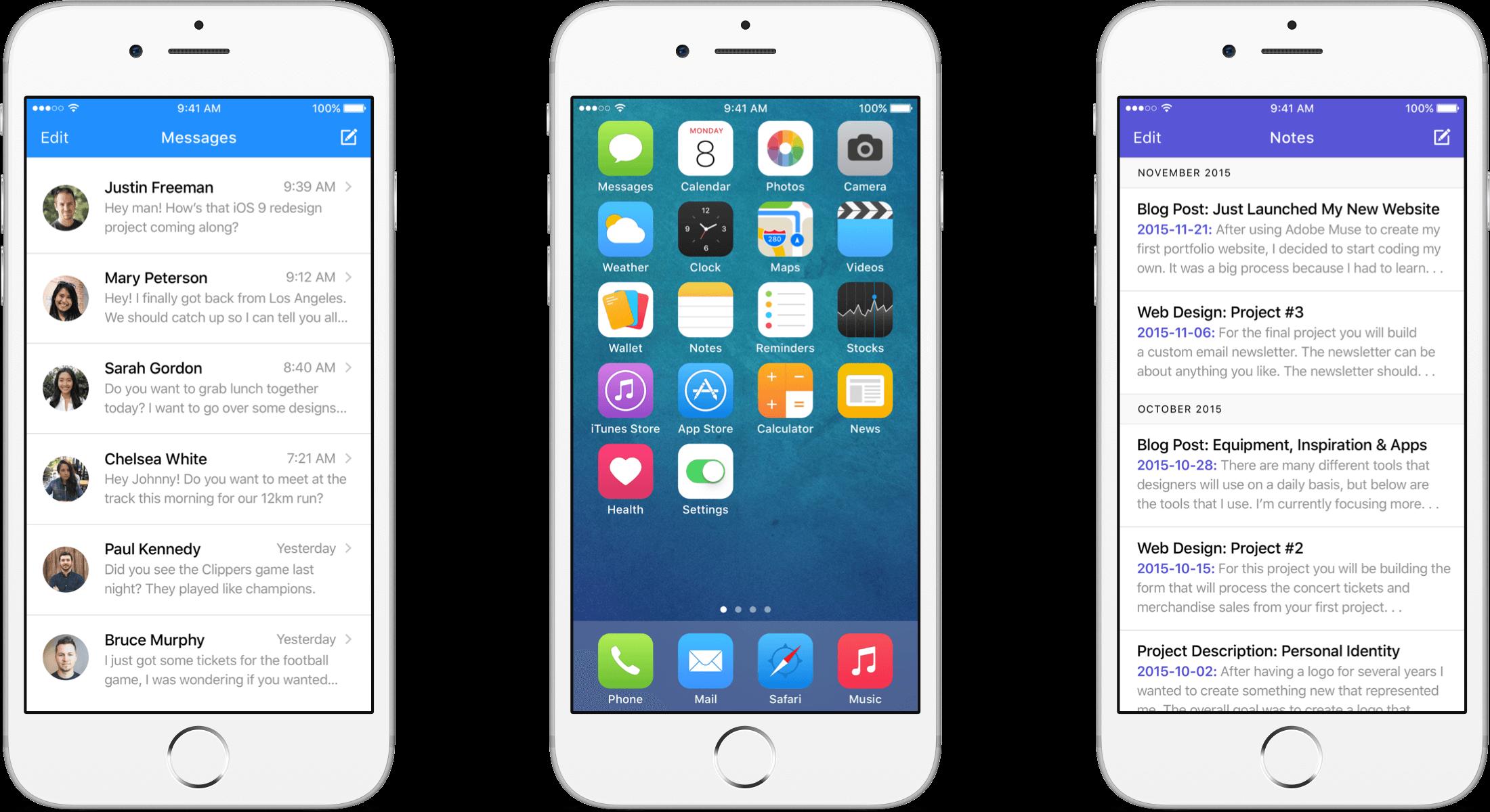 iOS 9 Redesign header