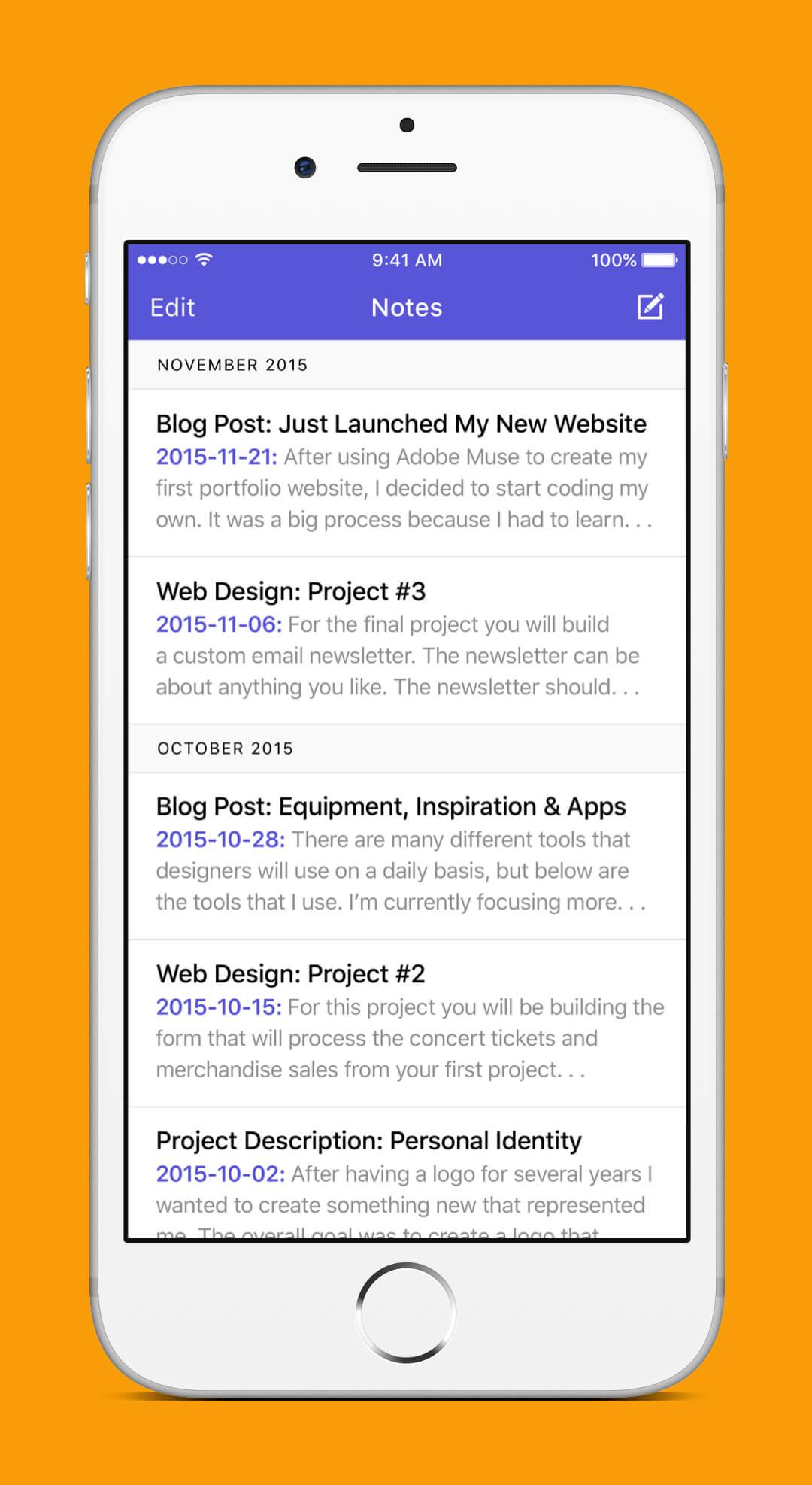 iOS 9 Redesign - Notes Screen