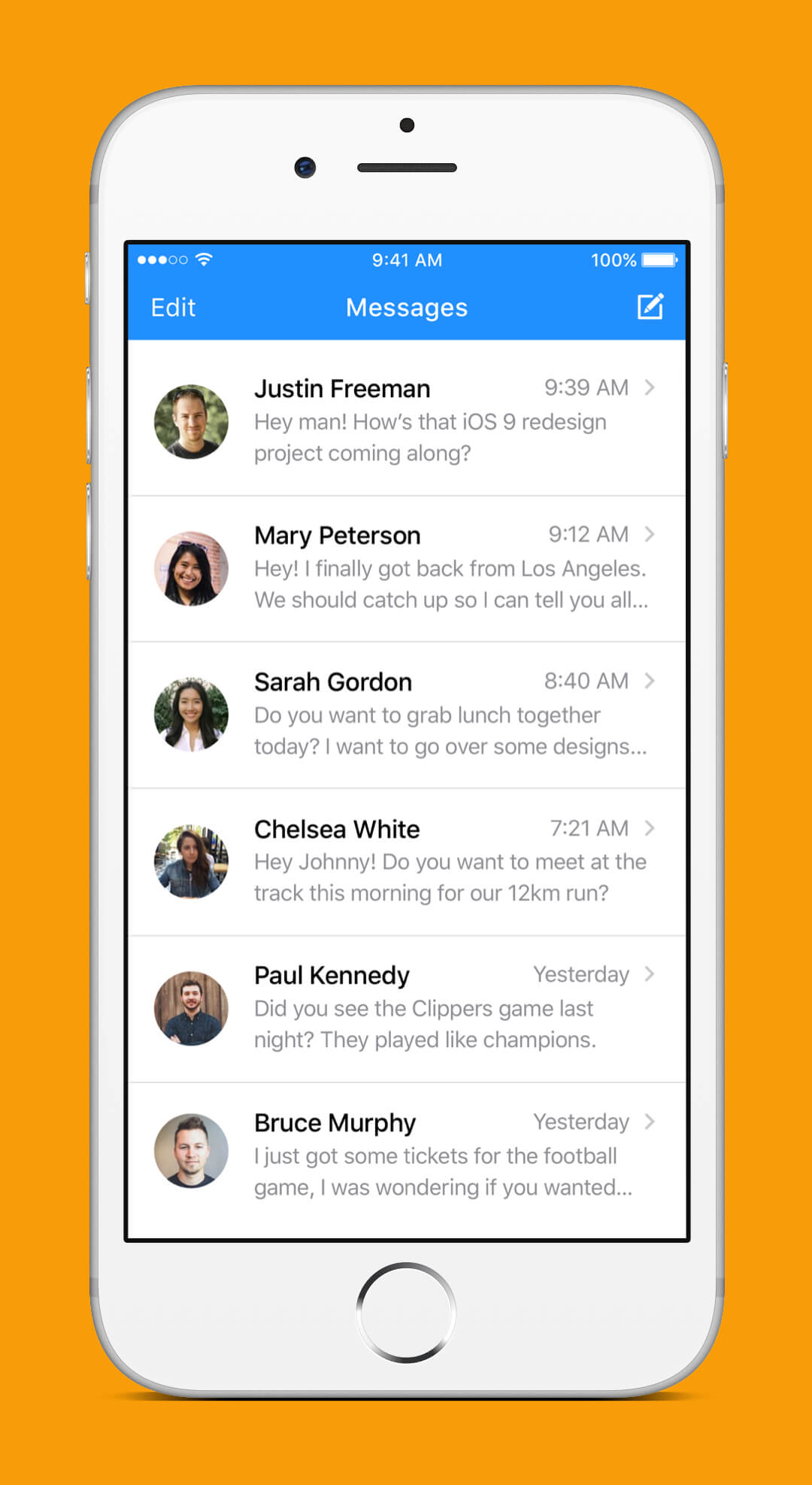 iOS 9 Redesign - Messages Screen