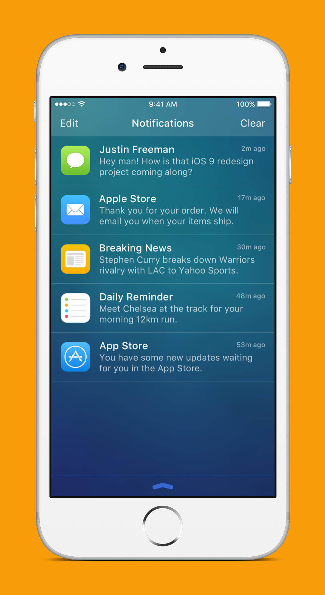 iOS 9 Redesign - Notifications Screen
