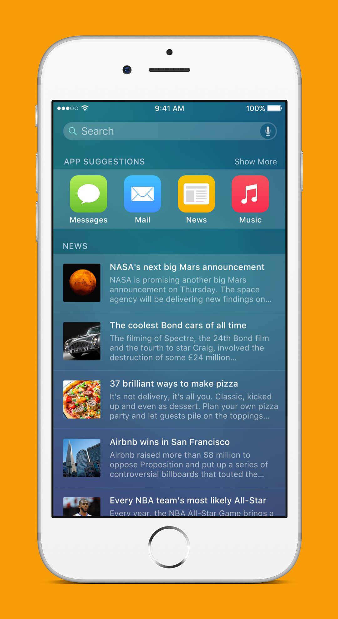 iOS 9 Redesign - Spotlight Screen