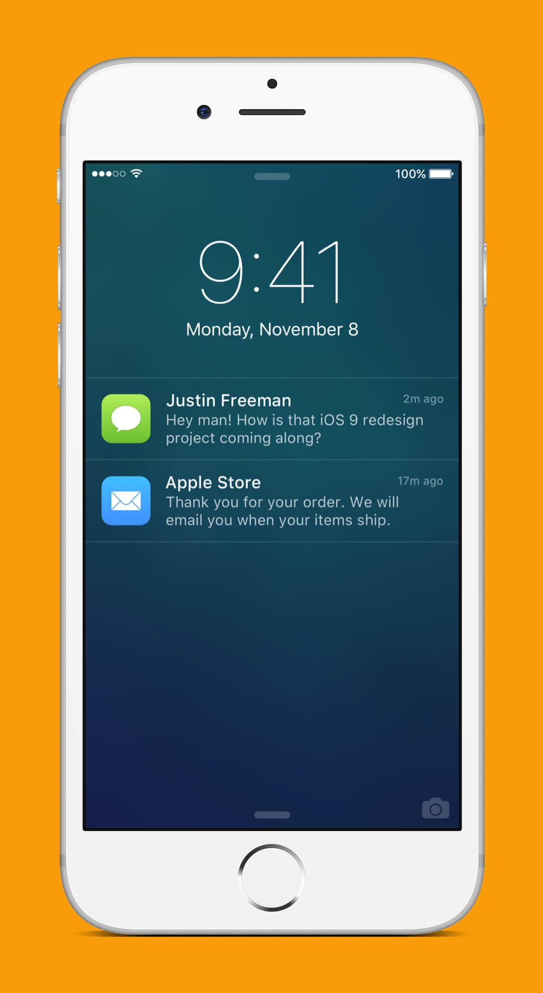 iOS 9 Redesign - Lock Screen