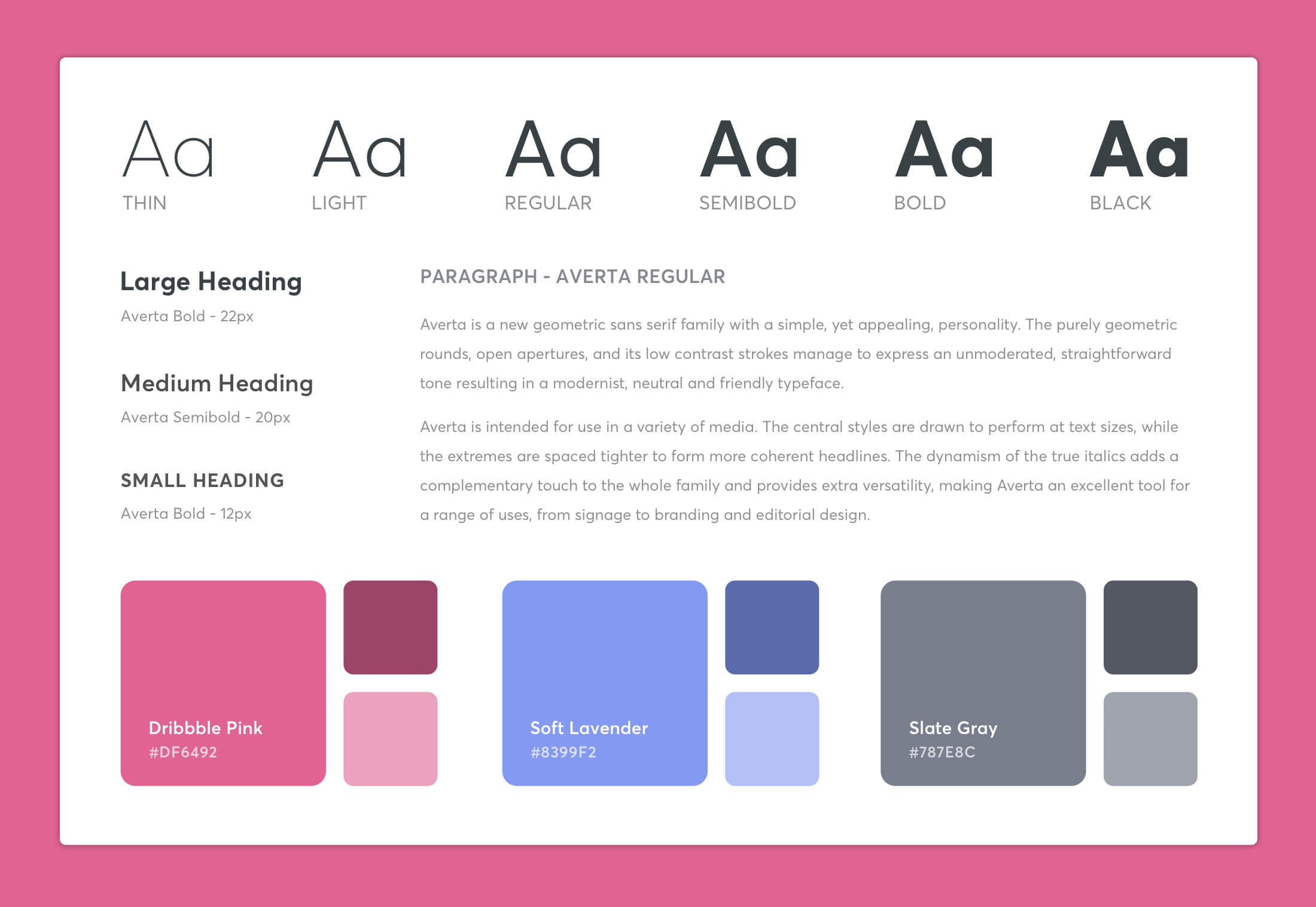 Dribbble Redesign style guide