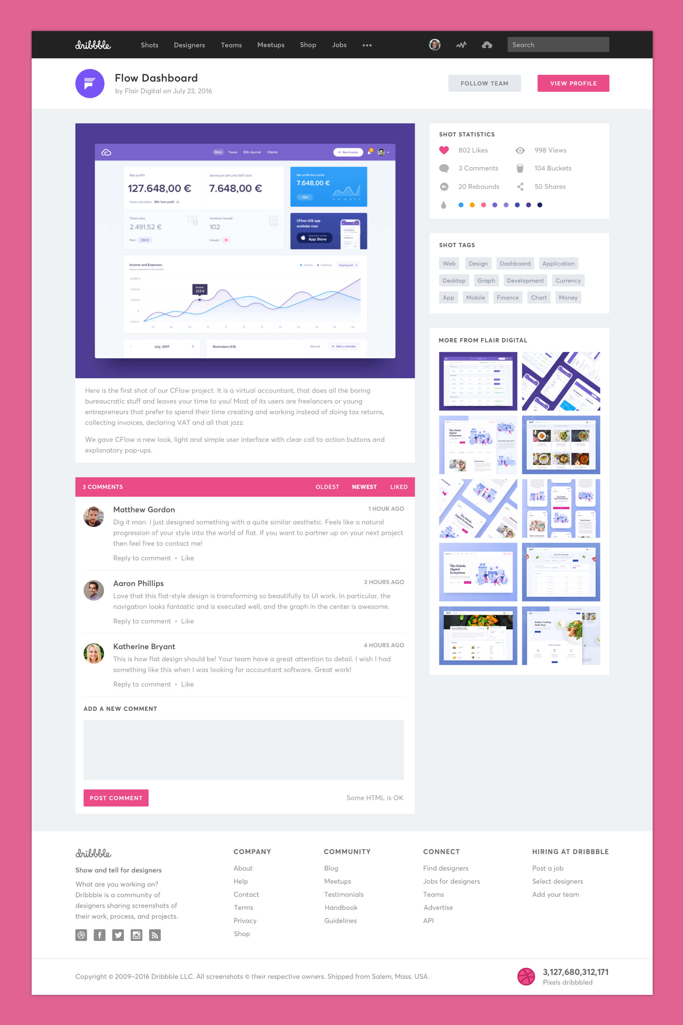 Dribbble Redesign - Shots Preview Page