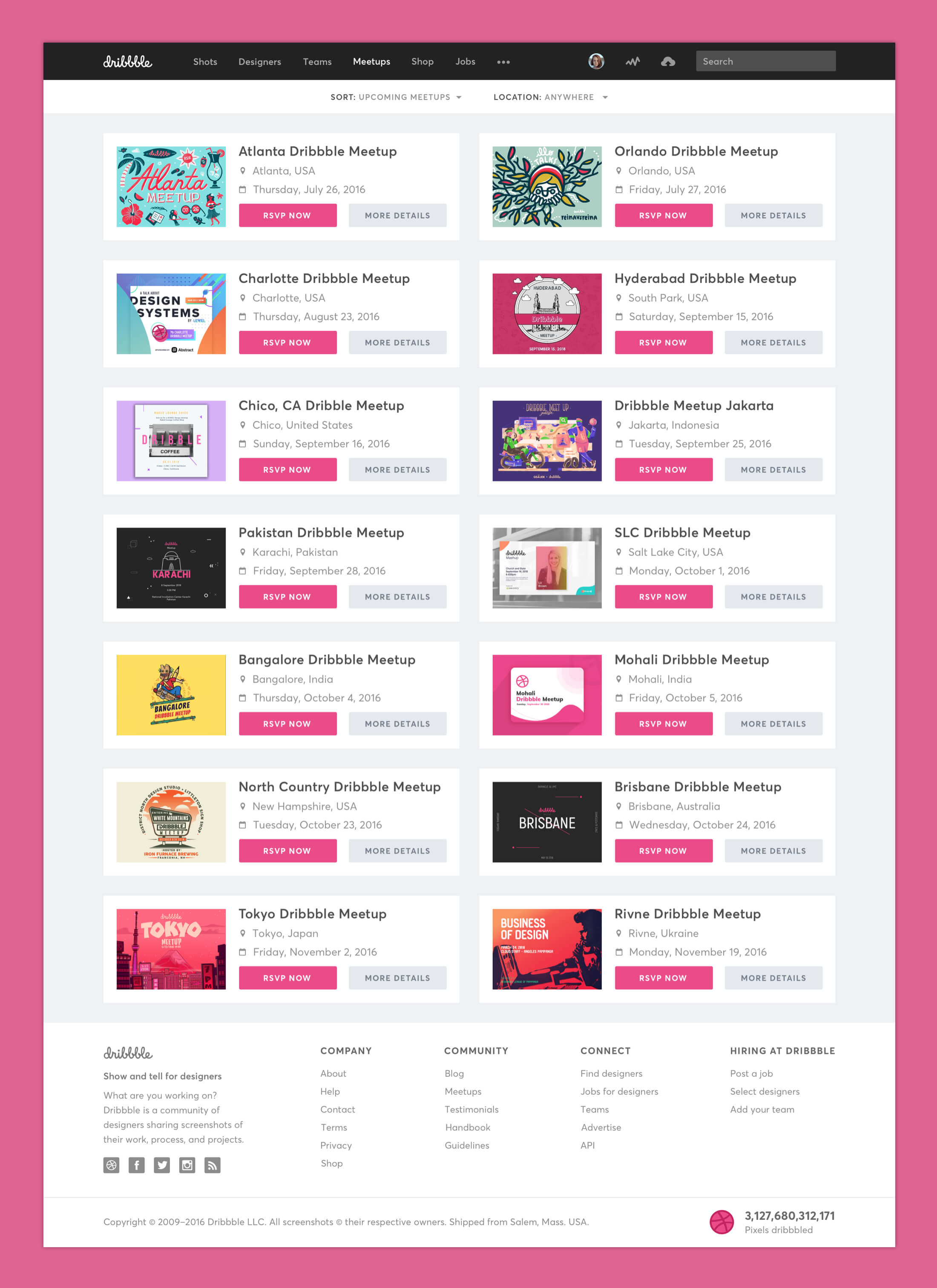 Dribbble Redesign - Meetups Page