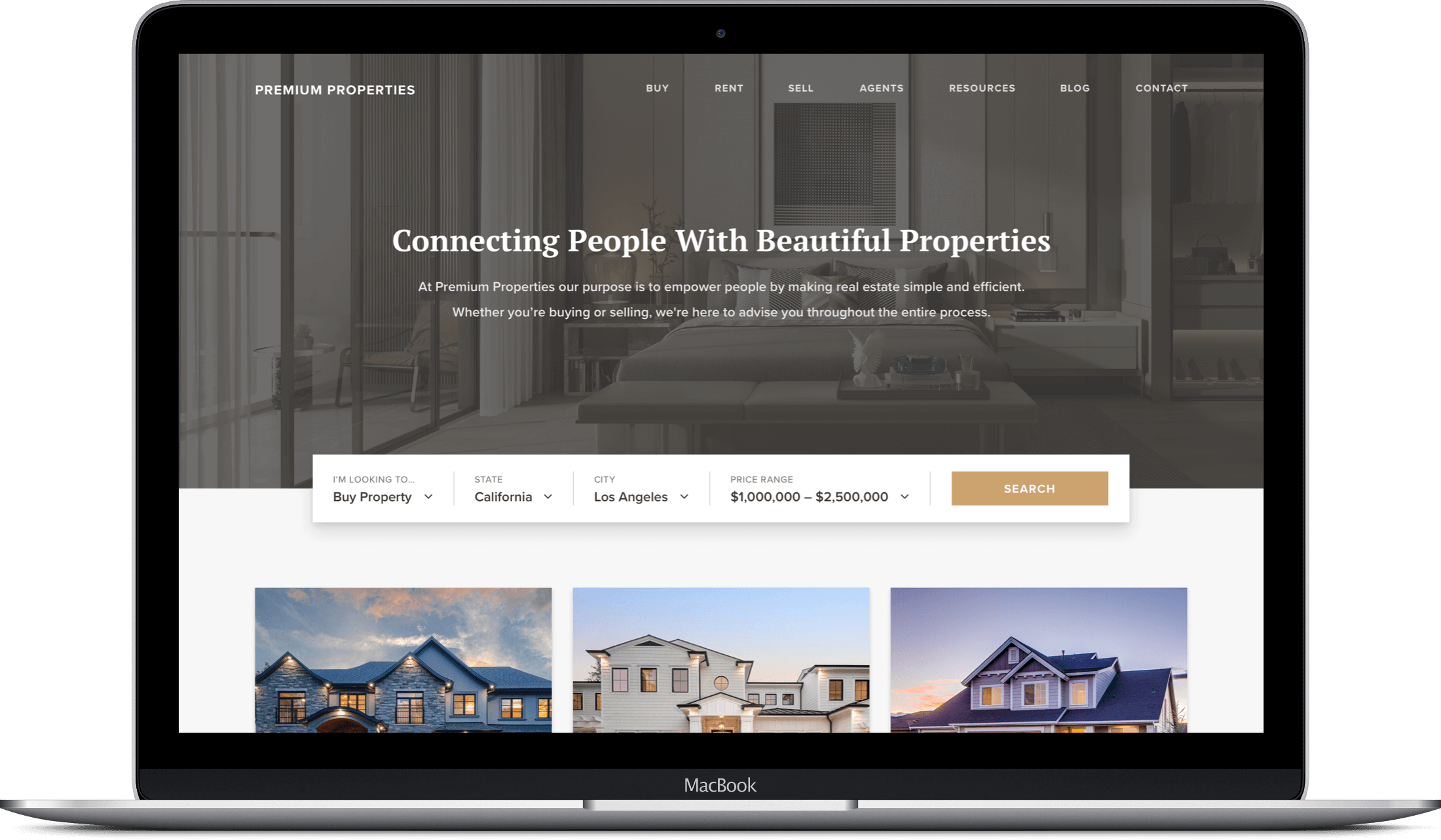 Premium Properties website on a MacBook screen