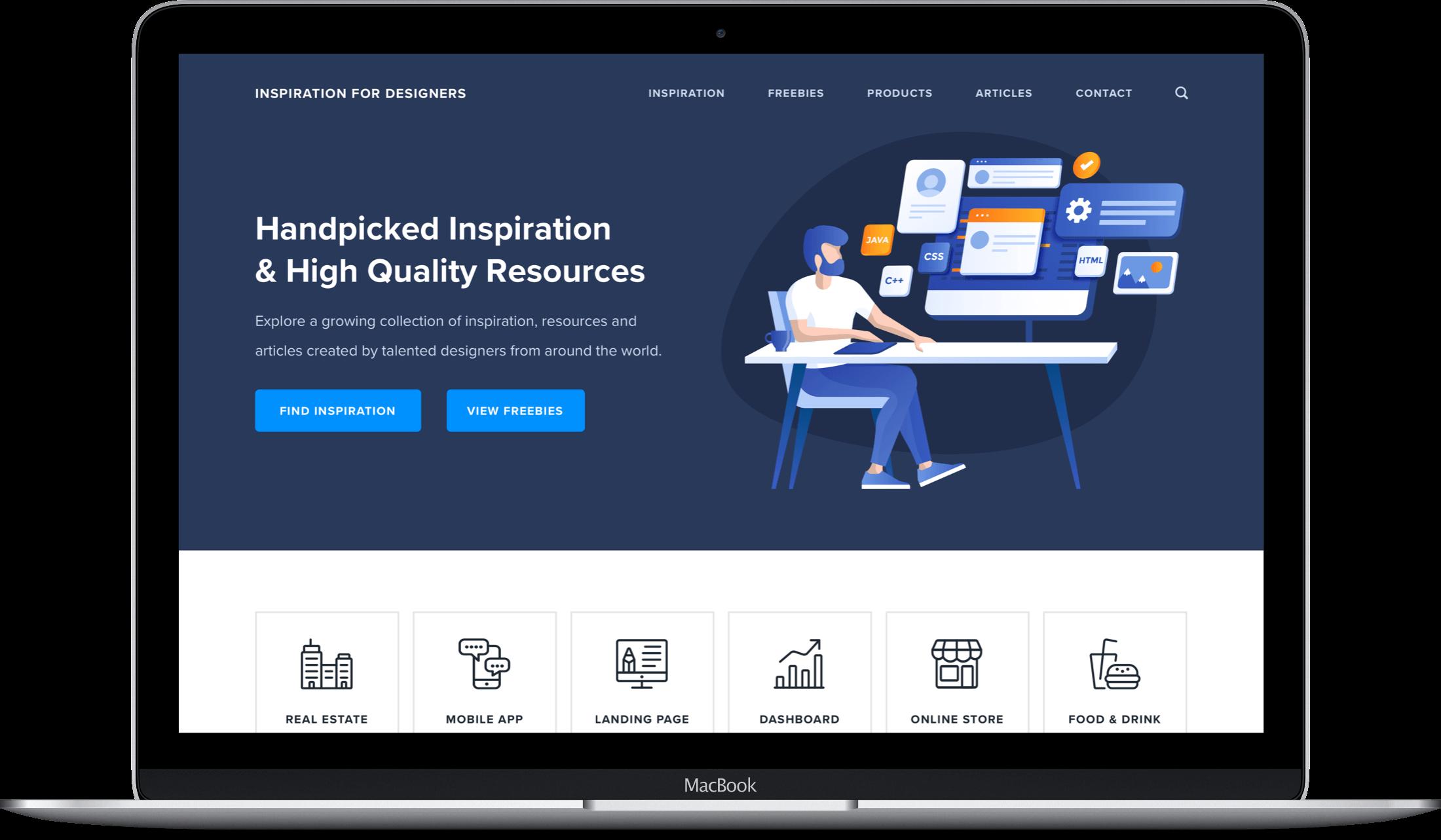 Inspiration For Designers website on a MacBook screen