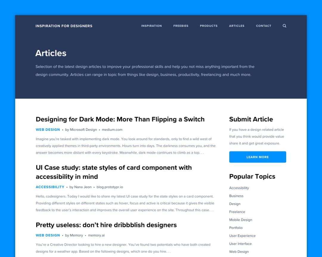 Inspiration For Designers - Article Page