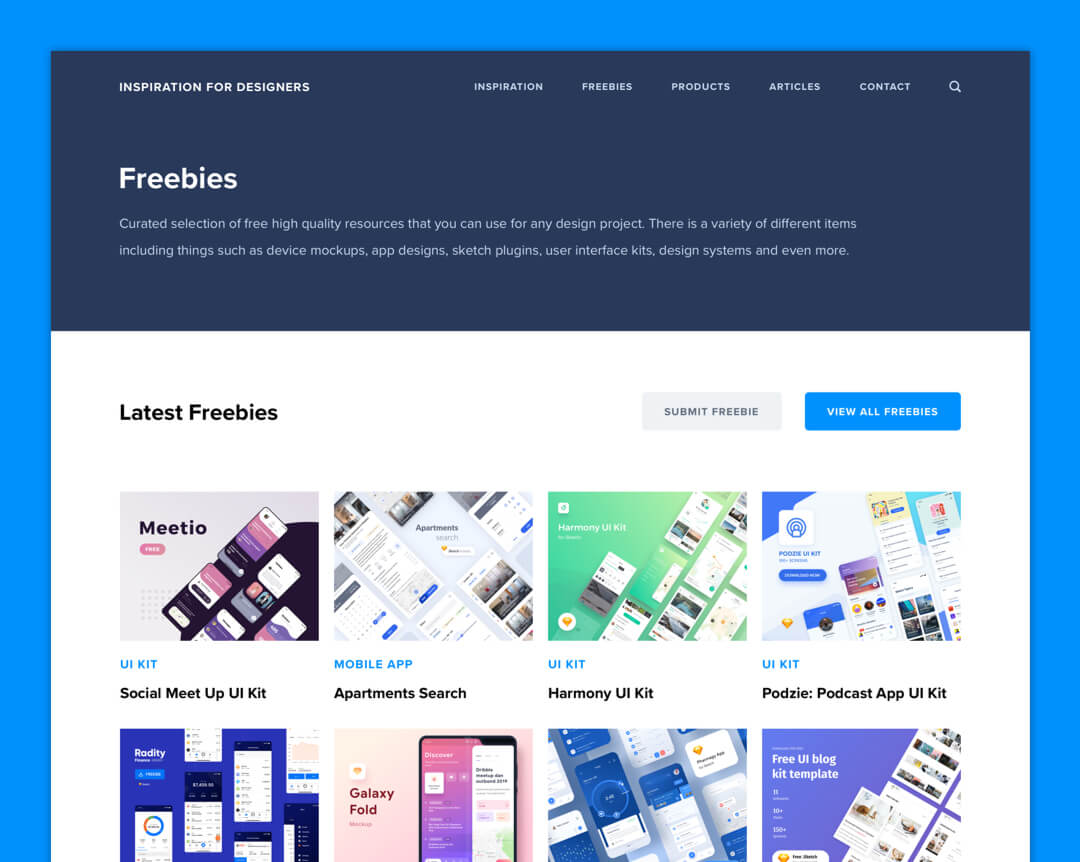 Inspiration For Designers - Freebie Page