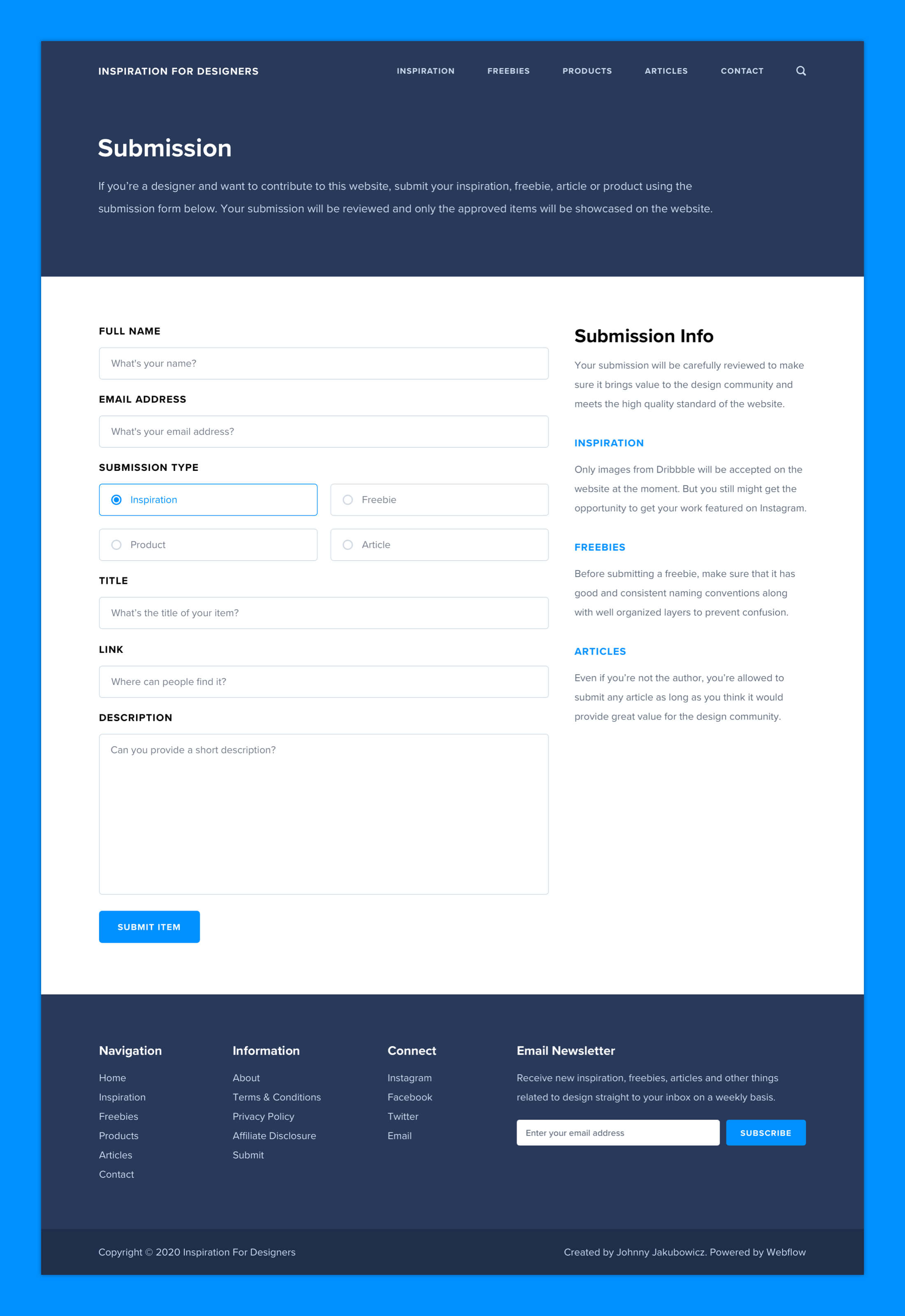 Inspiration For Designers - Submission Page