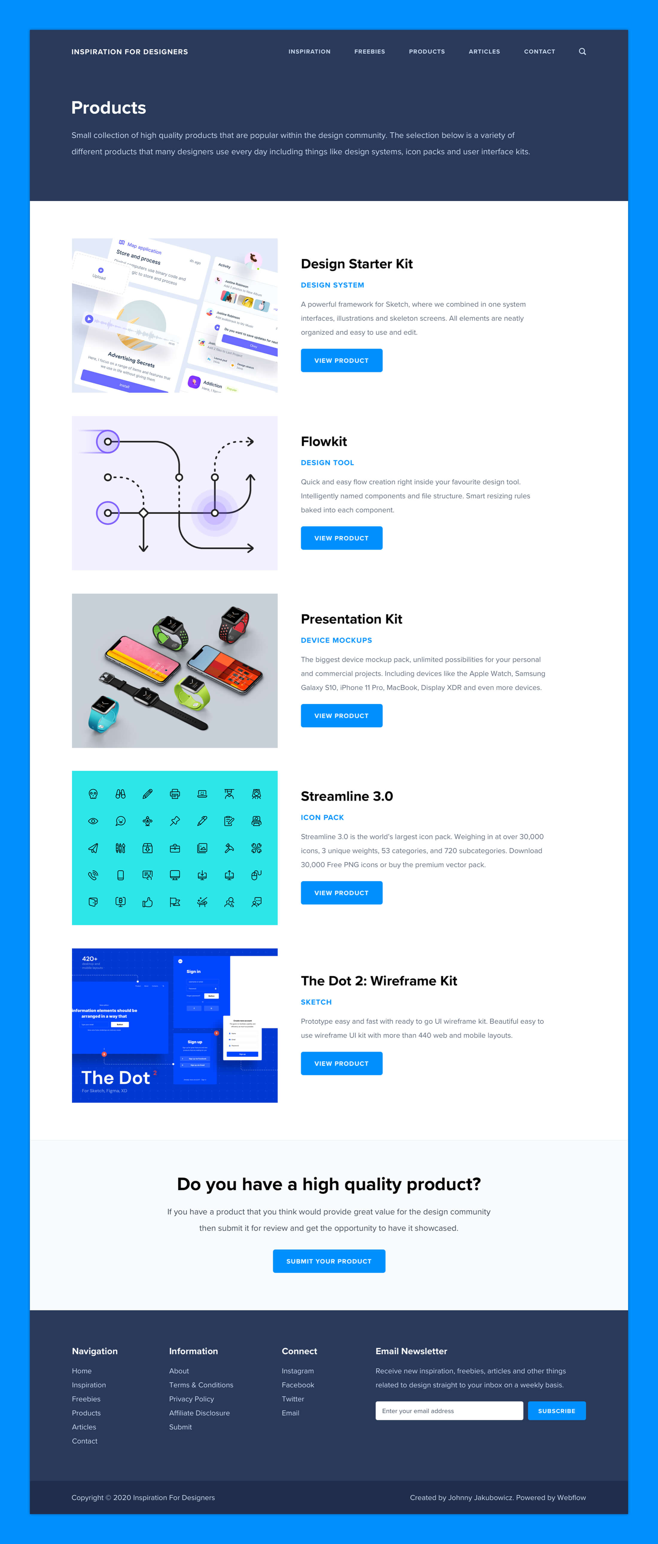 Inspiration For Designers - Product Page