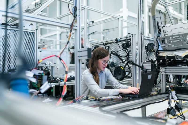 Woman working in tech lab