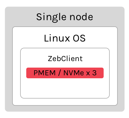 Example of ZebClient in single node configuration