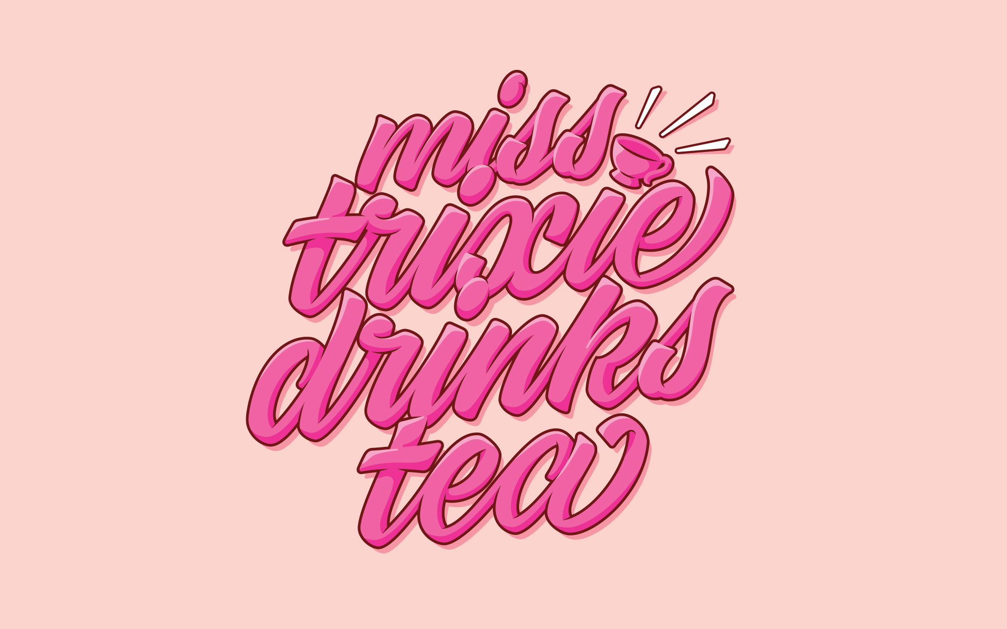 A pink script logo which reads Miss Trixie Drinks Tea.