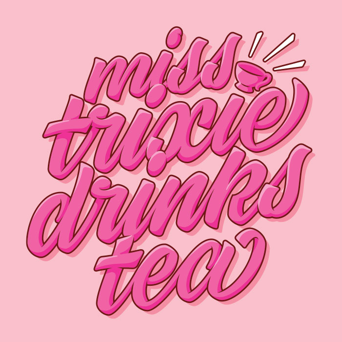 My scripty logo for Miss Trixie Drinks Tea, written in pink with highlights and shadows.