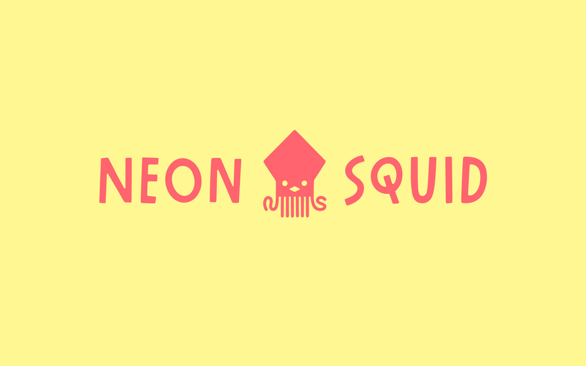 Logo for Neon Squid— a red, all caps san serif type with a wonky look, paired a geometric squid character.