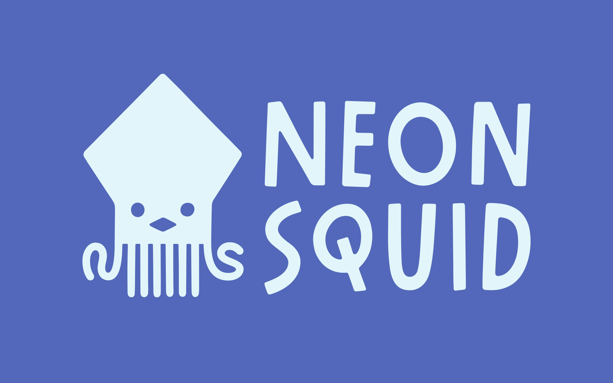 Logo for Neon Squid— this time in light blue, on a dark blue background.
