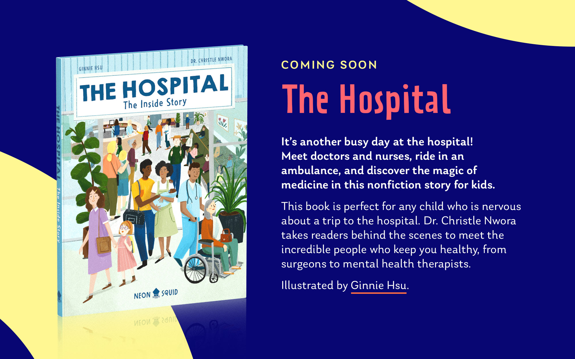 """Showing an upcoming book titled """"The Hospital"""", alongside some Neon Squid fonts, colours and tentacle graphics."""