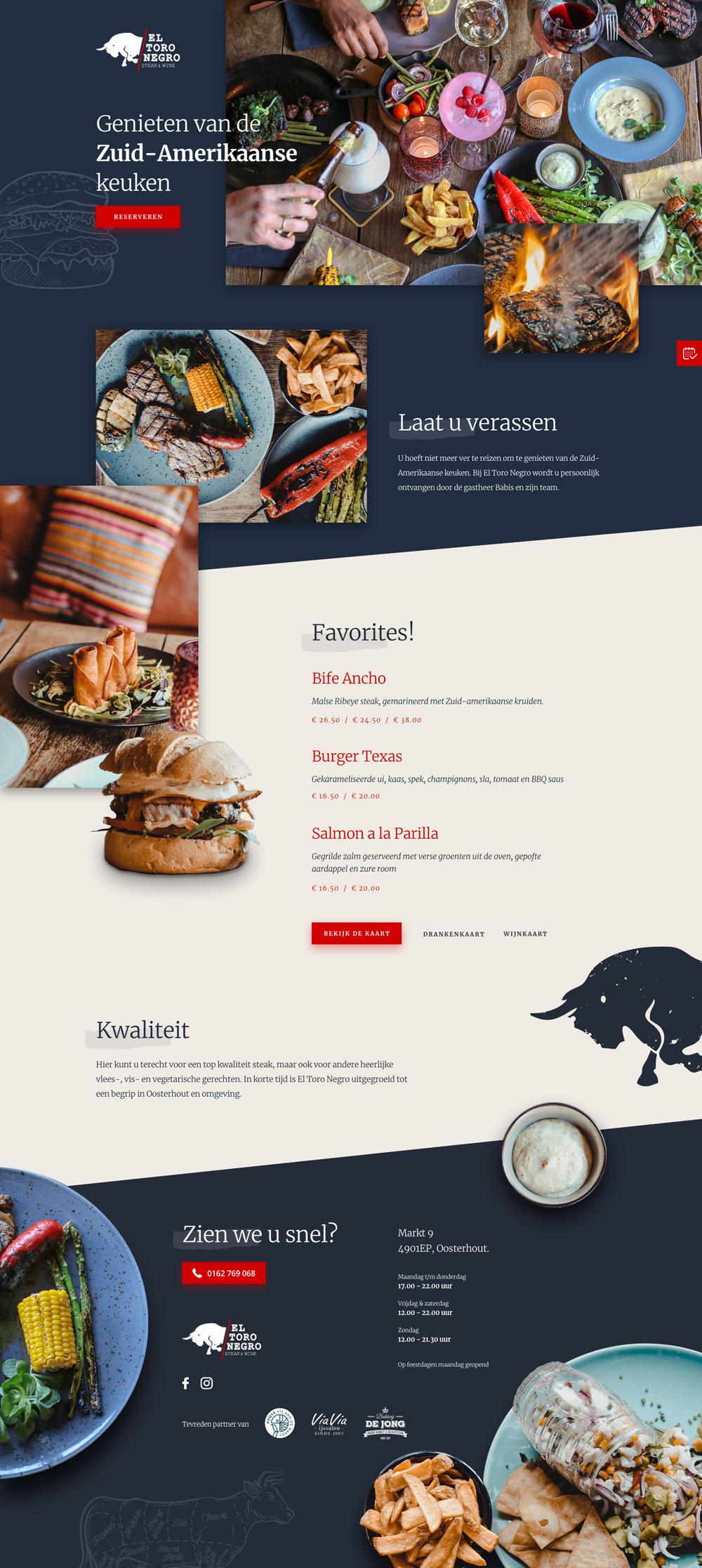 Responsive website design El Toro Negro