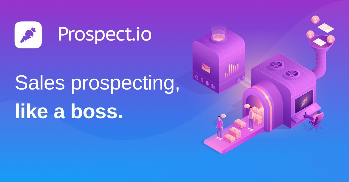 Screenshot of the sales prospecting tool; Prospect.io