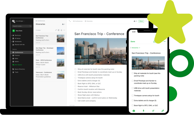 Homepage of Evernote with explanation on what the productivity tool can do for you.