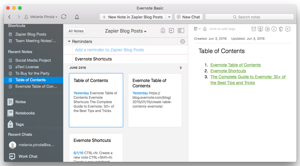 Integrate Evernote With Zapier to send your blogs directly to your site