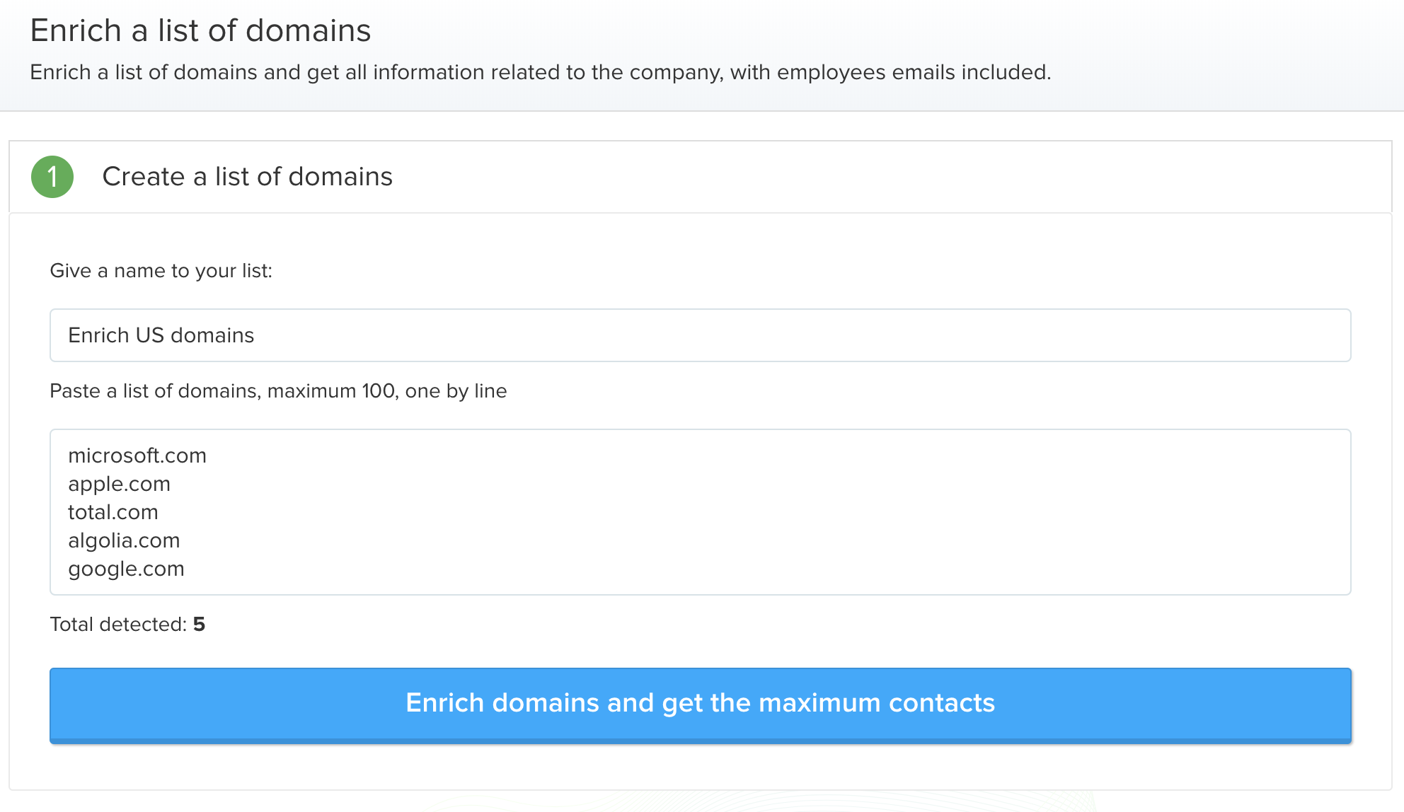 Get contact details based on a domain name with Anyleads