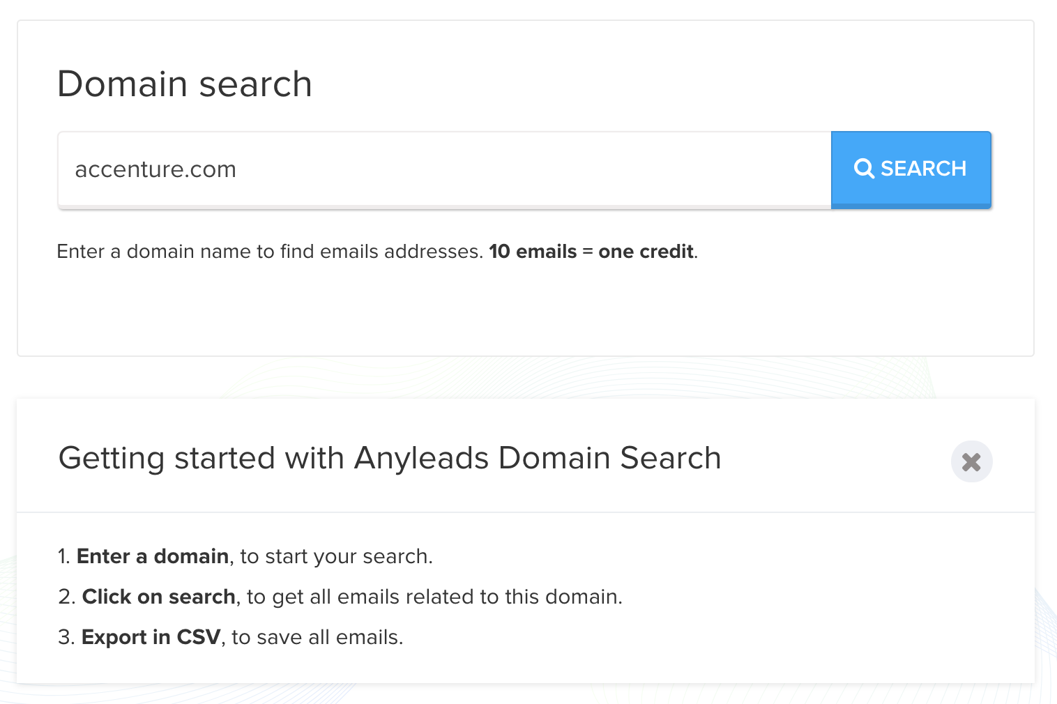 Start a search on domain level to get relevant contacts