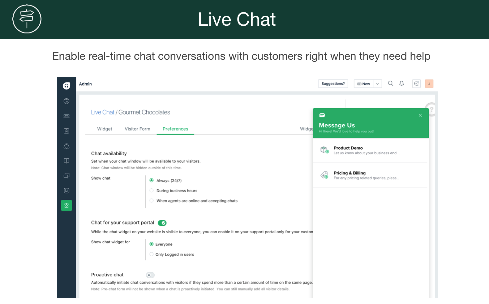 Offer real time chat support for your customers using FreshDesk