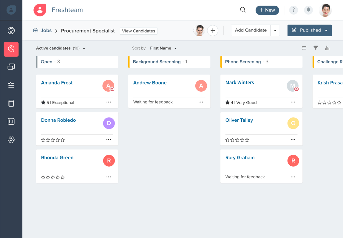 Create a kanban view of the job applicants for your job roles