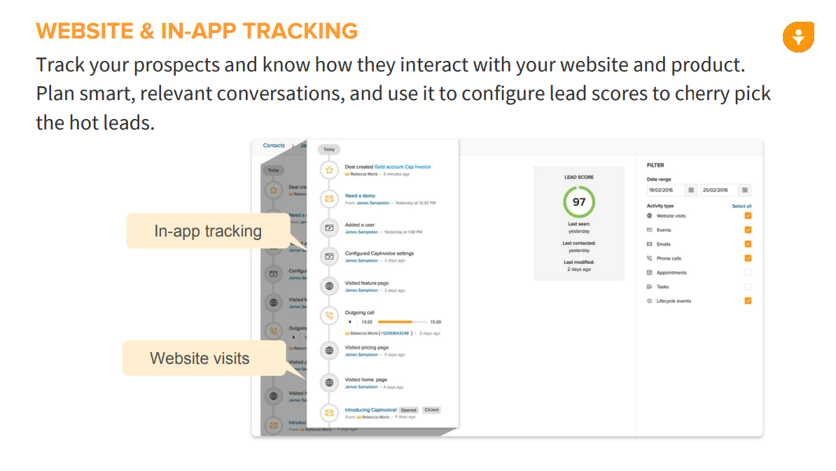 Track your prospects and see how they interact with your product within SalesFlare