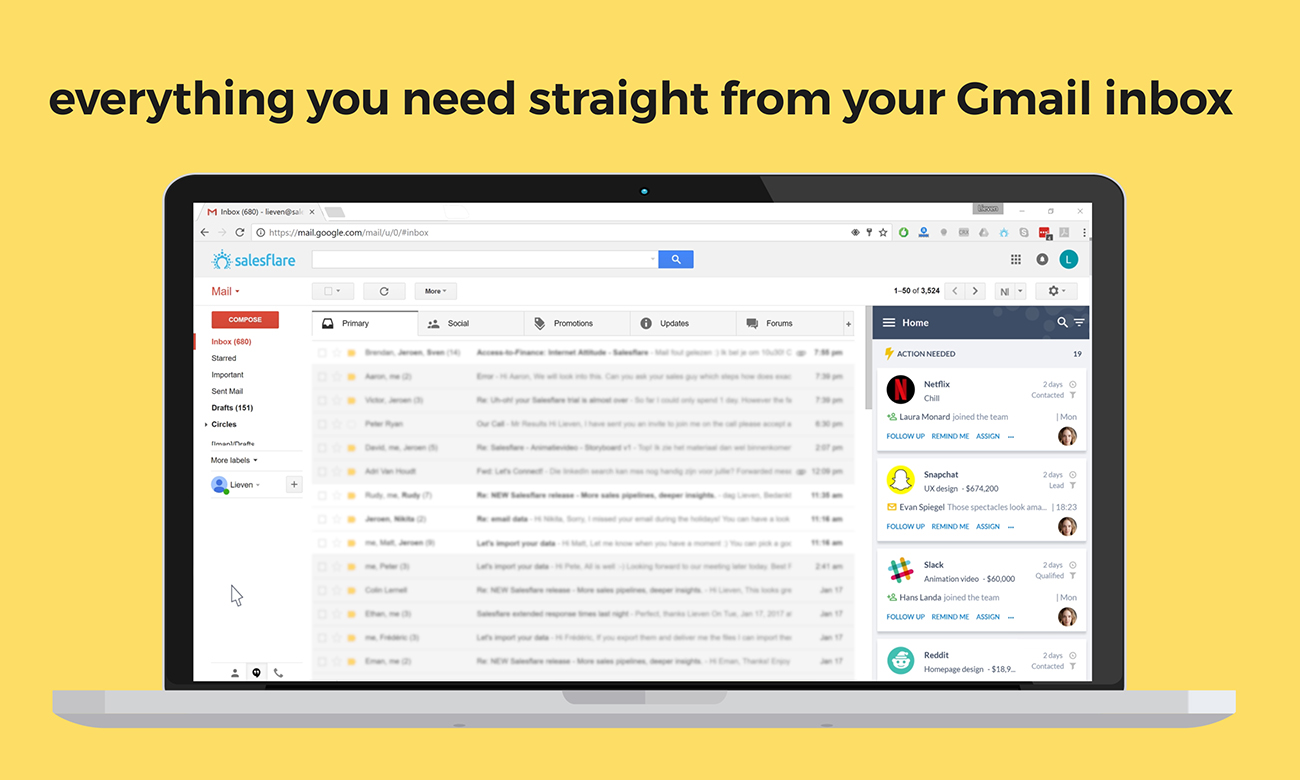See more info directly from your prospects within Gmail using SalesFlare