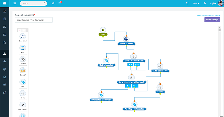 Create an advanced lead scoring and marketing automation flow within AgileCRM