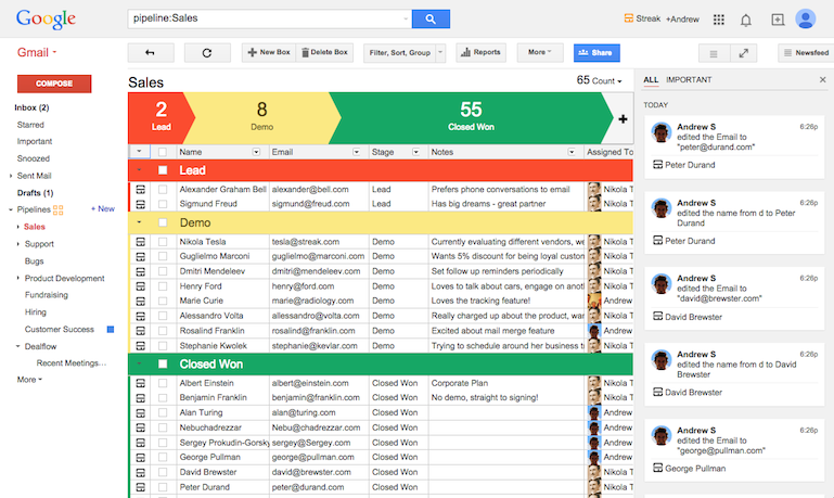 Keep track of your pipeline and deals within your gmail using StreakCRM