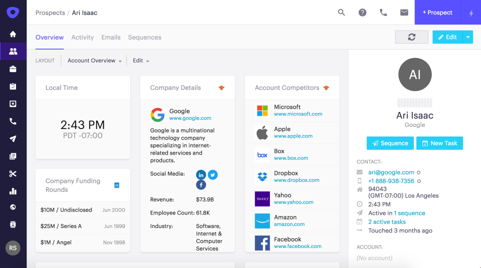 Screenshot of outreach with more information how the sales engagement platform looks
